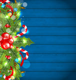 Christmas glowing background with holiday decoration Royalty Free Stock Image