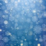 Christmas glowing Blue Template. EPS 10 vector. Christmas glowing Blue Template. Holiday lights. Blue New year Abstract Glitter Defocused Background With Royalty Free Stock Photography
