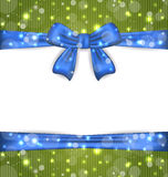 Christmas glowing card with ribbon bows Royalty Free Stock Photo