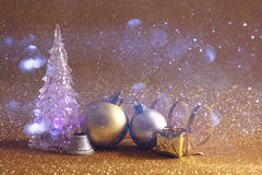 christmas glowing festive tree and ball decorations Stock Images