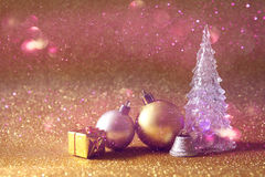 christmas glowing festive tree and ball decorations Stock Photography