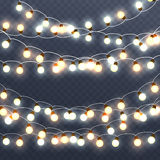 Christmas glowing garlands, holiday bright decorations. New Year lighting effects vector illustration