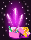 Christmas glowing gift box. With candy and yellow bow Royalty Free Stock Photos