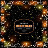 Christmas glowing greetings. Christmas shimmering background with lace and lights. vector illustration Stock Photo