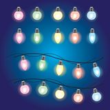 Christmas glowing lights. Garlands with colored bulbs. Xmas holidays. Christmas design element stock illustration