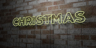 CHRISTMAS - Glowing Neon Sign on stonework wall - 3D rendered royalty free stock illustration Stock Images