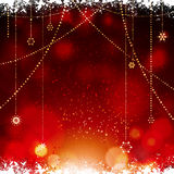 Christmas glowing red background with hanging stars Stock Photos