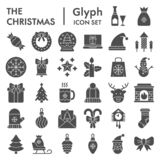 Christmas Glyph Icon Set, Celebration Symbols Collection, Vector Sketches, Logo Illustrations, Winter Signs Solid Stock Photos