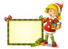 The christmas gnome - drawrf - illustration for the children. Happy and colorful illustration for christmas Stock Image