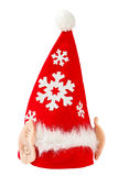 Christmas gnome hat with white fur and ears, isolated on a white. Christmas red hat with white fur, isolated on a white background Royalty Free Stock Photography