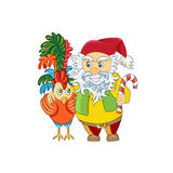 Christmas gnome and his friend Rooster - a symbol of 2017. New Y Stock Photos