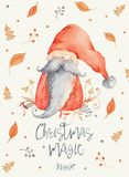 Christmas gnome with long beard and red pointed hat. Christmas Greeting Card with Cute cartoon character - Christmas gnome with long beard and red pointy hat stock illustration
