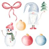 Christmas gnome, snowman, tree and balls watercolor clipart. Hand painted illustration. Printable Xmas decoration.