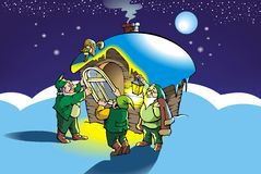Christmas gnomes. Gnomes mount new window in their hut, vector illustration Royalty Free Stock Image