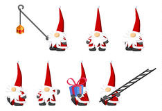 Christmas Gnomes. Christmas celebration cartoon character design element set,  vector Stock Image