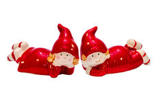 Christmas gnomes. Girl and boy. Christmas gnomes in red. Girl and boy royalty free stock images