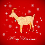 Christmas goat. Template postcards Year of the Goat on the eastern horoscope. vector illustration Royalty Free Stock Images