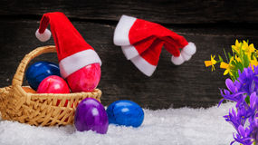 Christmas goes, Easter comes. With eggs Stock Photos