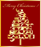 Christmas in gold. Decorative gold christmas tree with backgound Stock Photos