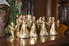 Christmas gold angel. Christmas shiny golden angels book royalty free stock image