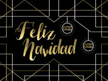Christmas gold art deco line Spanish feliz navidad Royalty Free Stock Photos