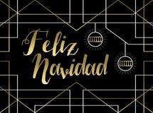 Christmas gold art deco line Spanish feliz navidad royalty free stock photos
