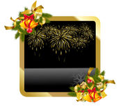 Christmas gold background. With fireworks Royalty Free Stock Photography