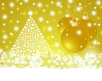 Christmas gold background with shiny Christmas tree and balls Stock Image