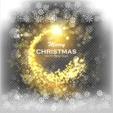 Christmas Gold Background with Snowflakes and Snow. Abstract Bright Golden Falling Star - Shooting Star with Twinkling Royalty Free Stock Photography