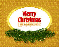 Christmas gold background with sparkling frame Royalty Free Stock Photo
