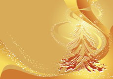 Christmas gold background with tree stock photography