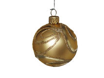 Christmas gold ball. Isolated on white Stock Images