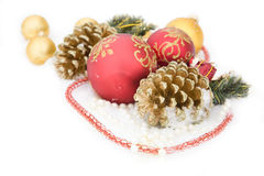 Christmas gold ball, beads fir cone Royalty Free Stock Images