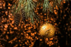 Christmas gold ball hanging on pine branches with festive orange background Stock Photo
