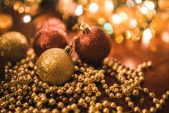 Christmas Gold Balls Stock Photography