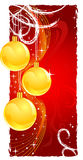 Christmas gold balls. Christams greeting card with a free space for text. Vector image, an additional format avalible Stock Photo