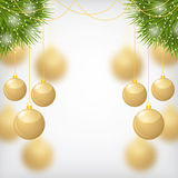 Christmas gold balls hanging on fir. Vector illustrations of Christmas gold balls on firs branches on blur background Royalty Free Stock Photography