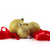 Christmas Gold Balls With Ribbon Royalty Free Stock Photo