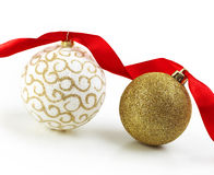 Christmas Gold Balls With Ribbon Stock Images