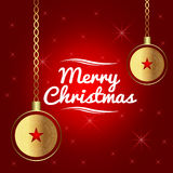 Christmas Gold balls, stars and red starred Stock Photo