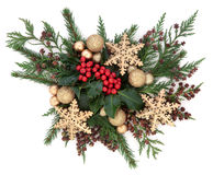 Christmas Gold Bauble Display Royalty Free Stock Photo