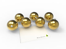 Christmas gold baubles and christmas wishes card Royalty Free Stock Image