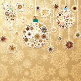 Christmas gold with baubles. EPS 8 Royalty Free Stock Photo