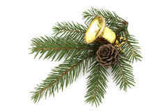 Christmas gold bell. Christmas decoration isolated on white Stock Photos