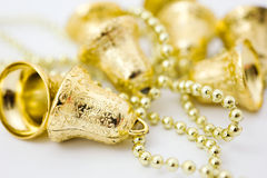 Christmas gold bells Stock Photos