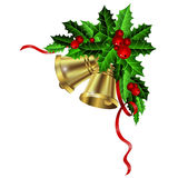 Christmas gold bells holly sprig and berries Royalty Free Stock Photography