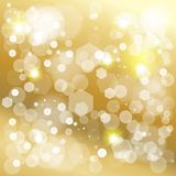 Christmas gold bokeh lights effect wallpaper. Abstract bokeh lights gold background for Birthday, Wedding Day, Winter Holiday Christmas, Valentines Day. Vector Stock Image