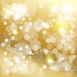Christmas gold bokeh lights effect wallpaper Stock Image