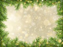 Christmas gold bokeh with tree branches frame background. EPS 10 stock illustration