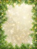 Christmas gold bokeh with tree branches frame background. EPS 10 vector illustration
